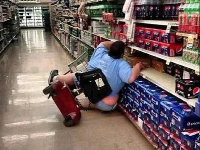 fat person in shop